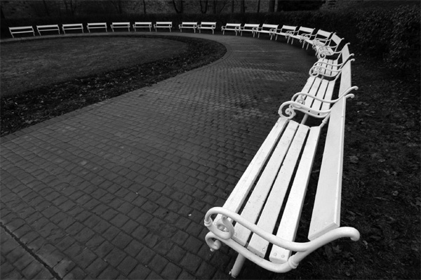 Benches in Petrin park