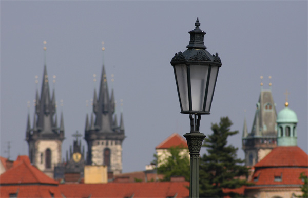 Lamp on the Charles Bridge with Tyn Church and Old Town Tower