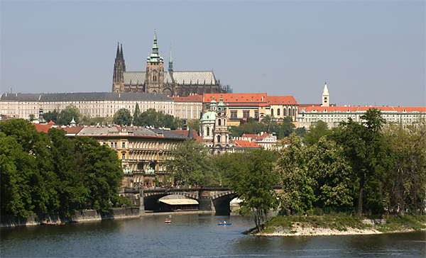 picture of Prague Castle with Vltava river and Strelecky island
