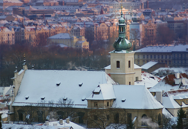Prague Church of Our Lady Victorious covered by snow