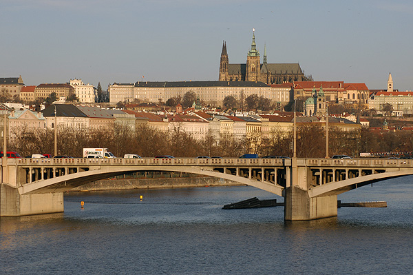 Winter sun and the cityscape of Prague Castle and the Lesser Town