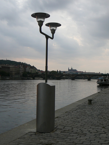 New lamps on the left bank of Vltava River