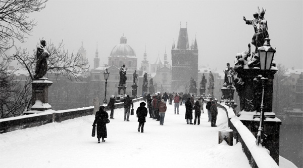 Snow on Prague Charles Bridge