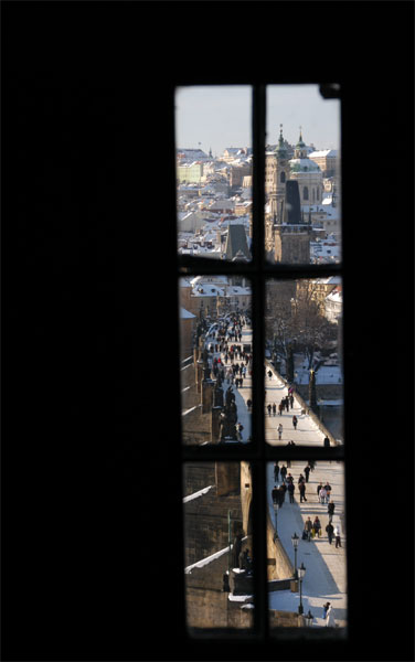 Picture of Charles Bridge and Lesser Town taken from Old Town Tower Bridge through window